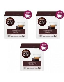Café Capsulas  Dolce Gusto Ristretto Napoli Style 16cap - Pack 3cx