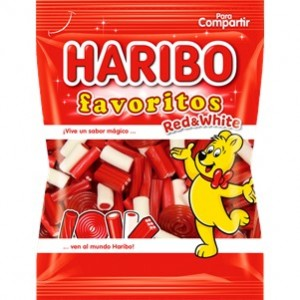 Saquetas Haribo Favoritos Red-White 90g